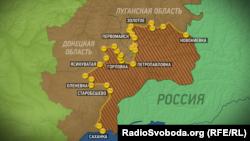 Карта территории Донецкой и Луганской областей Украины.