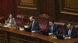 Слева направо: вице-спикер Лена Назарян, спикер НС Арарат Мирзоян, вице-спикер Ален Симонян, вице-спикер Ваге Энфиаджян, Ереван, 15 января 2019 г.