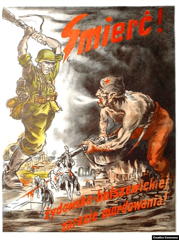 "A Nazi propaganda poster declaring ""death to the Jewish-Bolshevik pestilence of murdering."" As well as executions at the hands of the Soviet secret police, millions of Ukrainians had died under Stalin in a man-made famine. Nazi propaganda linking Jews with Soviet rule fed the beliefs of some elements of the Ukrainian nationalist movement in a region with a history of anti-Semitic violence."