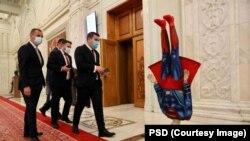 Statuia lui Superman a fost adusă de parlamentarii PSD