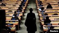 Delegatët hyjnë në mbledhjen vjetore për Sesionin e 76 -të të Asamblesë së Përgjithshme në Selinë e OKB -së në Nju Jork, SHBA, 21 shtator 2021.