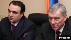 Armenia - National Security Council Secretary Artur Baghdasarian (L) and CSTO Secretary General Nikolay Bordyuzha at a joint news conference in Yerevan, 12Mar2012.