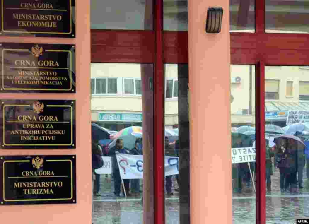 Protesti radnika Duvanskog kombinata Podgorica. Foto:Savo Prelević