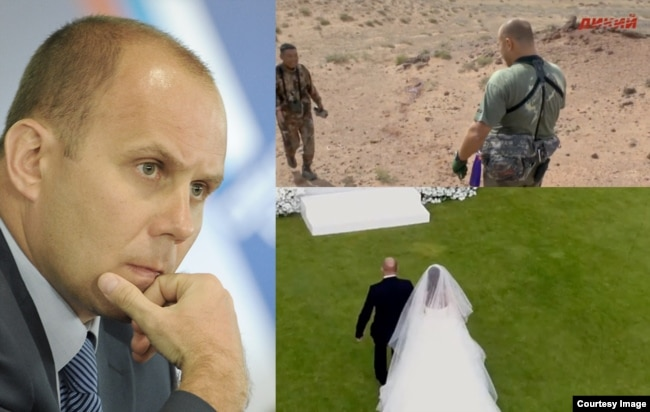"Eduard Bendersky (left) in 2012, (top-right) on a Russian TV program ""Wild TV, and in the wedding video"