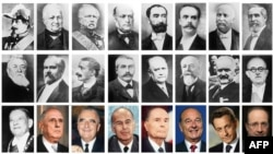 Președinții Franței până la Emmanuel Macron. De Gaulle și Mitterrand sunt al doilea și al cincilea din rândul de jos.