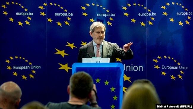 Johannes Hahn, bivši komesar EU za proširenje, tokom posete BiH marta 2019.