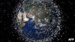 Созданное на компьютере изображение Земли, вокруг обриты которой вращаются около 12 тысяч различных объектов.