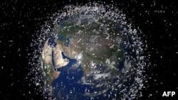 تصویر شبیهسازی شده توسط کامپیوتر از اشیائی که در جو زمین معلق هستند. در حال حاضر نزدیک به ۱۲ هزار شیء ساخته دست بشر گرداگرد زمین در حال چرخش هستند.