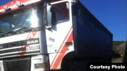 Армения -- Обстрелянный российский грузовик на дороге Баганис-Воскепар, Тавушская область, 5 ноября 2015 г. (Фотография – со страницы в Facebook главы села Баганис Нарека Саакяна)