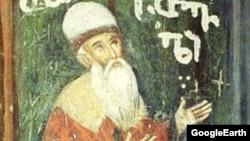 Шота Руставелинин Иерусалимдеги кечилкананын дубалындагы сүрөтү.