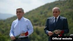 Президенты Армении и Нагорного Карабаха в селе Чапар Мартакертского района, 1 сентября 2014 г.