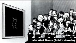 """1974-жылдагы Португалиядагы ыңкылапка баа берүү үчүн баш катырышууда. Жуан Абел Мантанын """"Татаал көйгөй"""" сүрөтү. 11.7.1975."""