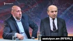 Քաղաքական մեկնաբան Հակոբ Բադալյան (ձախից) և Հանրային խորհրդի նախագահ, քաղաքագետ Ստյոպա Սաֆարյան (աջից), արխիվ