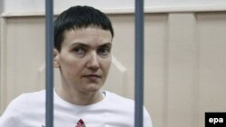 Pilot Nadia Savchenko in a Moscow court.