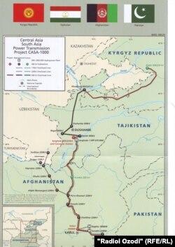 Карта ЛЭП по проекту CASA-1000.
