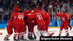 Ресей хоккейшілерінің олимпиадада жеңіске жеткен сәті. Пхенчхан, 25 ақпан 2018 жыл