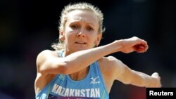 Казахстанская прыгунья Ольга Рыпакова, олимпийская чемпионка 2012 года в тройном прыжке.