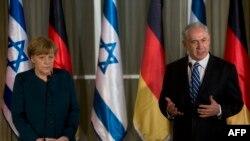 نشست خبری مشترک آنگلا مرکل، صدراعظم آلمان و بنیامین نتانیاهو، نخست وزیر اسرائیل در اورشلیم
