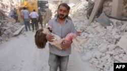 После очередного авиаудара по Алеппо, 20 июня 2016 года