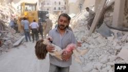 Последствия бомбардировки Алеппо сирийской авиацией 20 июня 2016 года