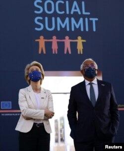 Președintele Comisiei Europene, Ursula von der Leyen și premierul Portugaliei, Antonio Costa, la Summitul Social al Uniunii Europene. 7 mai, 2021