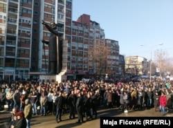Акция протеста косовских сербов в городе Митровица, январь 2017
