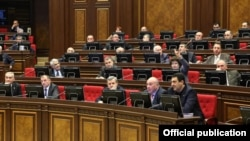 Armenia - Deputies from the ruling Republican Party attend a parliament session, 9Feb2012.