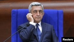 France -- Armenian President Serzh Sarkisian attends a debate at the Parliamentary Assembly of the Council of Europe in Strasbourg, October 2, 2013