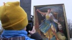 На акцію на підтримку Савченко принесли картину із зображенням «страти» Путіна (відео)