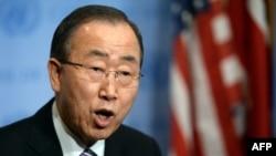 ՄԱԿ-ի գլխավոր քարտուղար Բան Կի-մունը դատապարտում է Հյուսիսային Կորեայի կողմից ջրածնային ռումբի փորձարկումը, Նյու Յորք, 6-ը հունվարի, 2016թ․