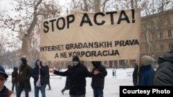 Протест против АКТА во Загреб.
