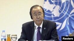 امين عام الامم المتحدة بان كي مون خلال زيارته الى بغداد، 30 آذار 2015