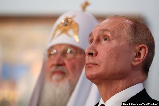 Президент Росії Володимир Путін (праворуч) і Московський патріарх Кирило. Москва, 4 листопада 2019 року