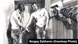 """Рисунок из книги """"Дыра"""": одна из трех имитаций расстрелов, которые пережил художник Сергей Захаров"""