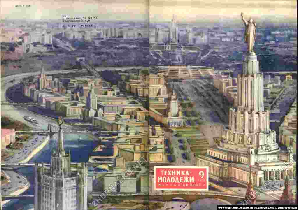 "Moscow as sketched by a Soviet soothsayer in 1952. Construction of the building on right began in the 1930s after an iconic church was blasted into rubble to make way. But the planned 415-meter ""Palace of the Soviets"" was scrapped when World War II broke out. The church has since been rebuilt on the site."