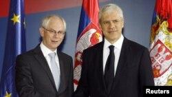 Президент Сербії Борис Тадич та голова Європейської ради Герман Ван Ромпей, Белград, 9 вересня 2011 року