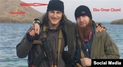 The Georgian ethnic Kist said to have been killed near Kobani, posing with Umar al-Shishani (right).