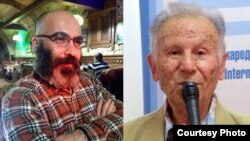 Azeri writers Seymur Baycan and Chingiz Huseynov.