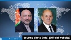 محمد حنیف اتمر، سرپرست وزارت خارجه افغانستان (چپ) و ژان ایو لودریان وزیر خارجه فرانسه