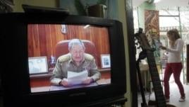 Рауль Кастроның Куба телеарнасынан сөйлеп жатқан кезі. 17 желтоқсан, 2014 жыл.