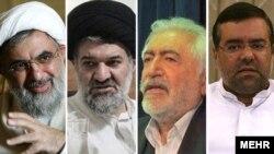از راست: روحالله احمدزاده کرمانی، محمد غرضی، محمدباقر خرازی و علی فلاحیان