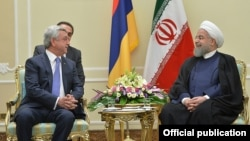 Iran - Iranian President Hassan Rouhani meets with his Armenian counterpart Serzh Sarkisian in Tehran, 6Aug2017.