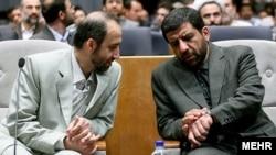 عزت الله ضرغامی رئیس سابق صدا وسیمای جمهوری اسلامی در کنار محمد سرافراز