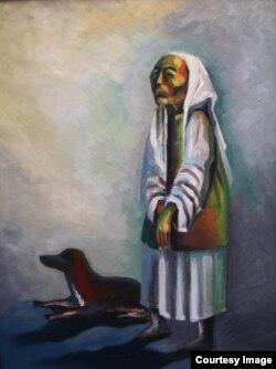 """Картина Болата Мекебаева """"Ожидание"""", на которой он запечатлел свою мать и щенка из своего детства."""