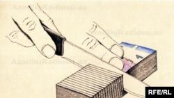 Bıçaq və pul. Karikatura. Şerif
