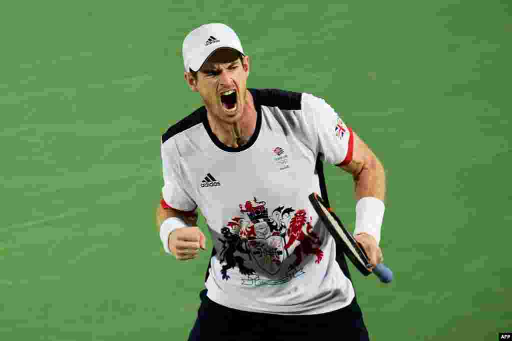 Britain's Andy Murray reacts after winning a point against Argentina's Juan Martin Del Potro during the men's singles tennis final. Murray took home the gold medal.