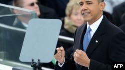 Президент Барак Обама во время выступления на инаугурации
