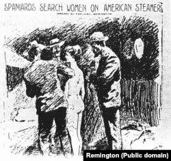 """Фальшивка: Обыск испанцами американской туристки на Кубе с целью найти письма """"повстанцев"""". Автор: Ремингтон. 1898"""