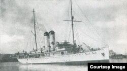 """Nava """"Împăratul Traian"""" (Foto: Vol. Nicolae Bârdeanu, Dan Nicolaescu, Contribuții la istoria marinei române, vol. I)."""