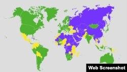 Mapa FH o slobodama u svijetu u 2012. godini (ljubičasta boja - neslobodne, žuta - djelomično slobodne, zelena - slobodne)